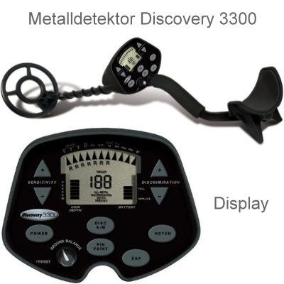 Discovery 3300 Ausrüstungspaket I (Metalldetektor & Pinpointer Black Huntmate & Schatzsucherhandbuch)