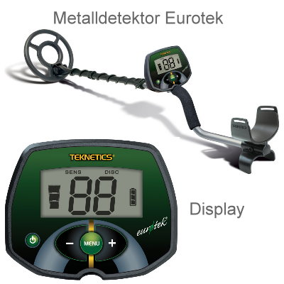 Teknetics Eurotek (LTE) Ausrüstungspaket II (Metalldetektor & Pinpointer Whites & Schatzsucherhandbuch)